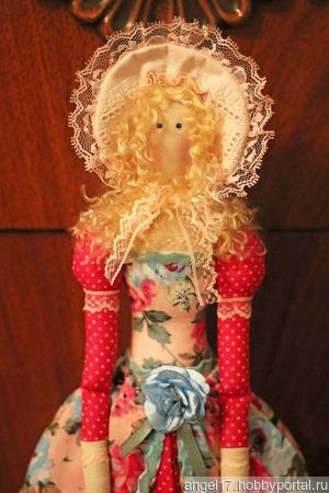 """Текстильная интерьерная кукла-тильда """"Ангел"""" в розовых тонах ручной работы на заказ"""