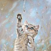 Картина с котом Теплая снежинка в детскую голубой коричневый