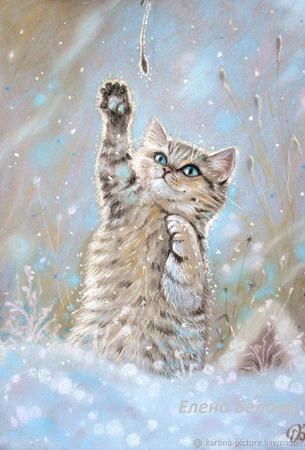 Картина с котом Теплая снежинка в детскую голубой коричневый ручной работы на заказ