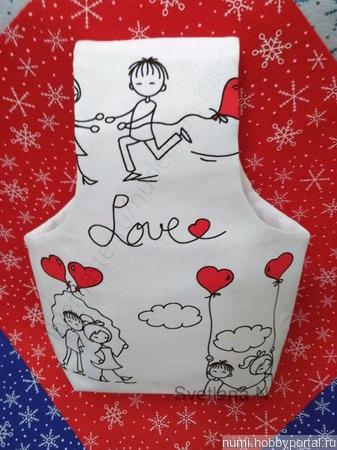 """Сумка-клубочница для рукоделия """"Love любовь"""" ручной работы на заказ"""