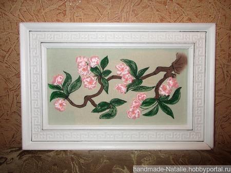 "Вышивка лентами ""Сакура в цвету "" ручной работы на заказ"