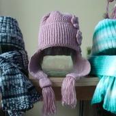 Вязаные шапка, шарф, комплект.