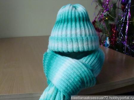 Вязаные шапка, шарф, комплект. ручной работы на заказ