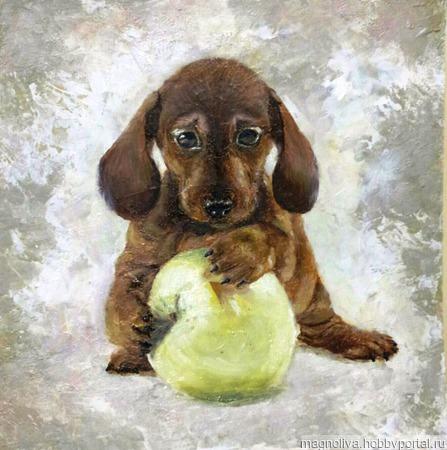 Собака с яблоком ручной работы на заказ
