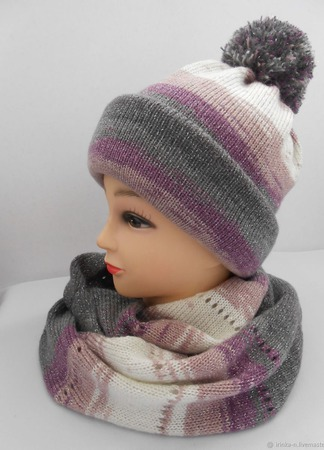 """Комплект вязаный """"Элиза""""- шапочка с помпоном  и шарф-снуд ручной работы на заказ"""