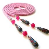 Лариат из бисера Розовая мозаика, розовый