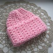 """Женская шапка вязаная """"Розовый зефир"""", меринос, крупная вязка"""
