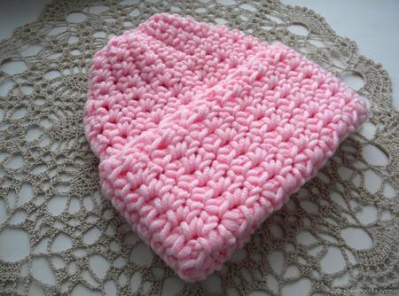 """Женская шапка вязаная """"Розовый зефир"""", меринос, крупная вязка ручной работы на заказ"""
