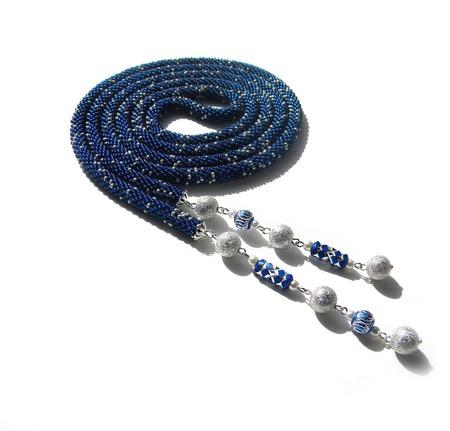 """Лариат из бисера """"Бархатная ночь"""", синий с серебром ручной работы на заказ"""