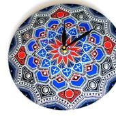 Часы на пластинке Серебро точечная роспись