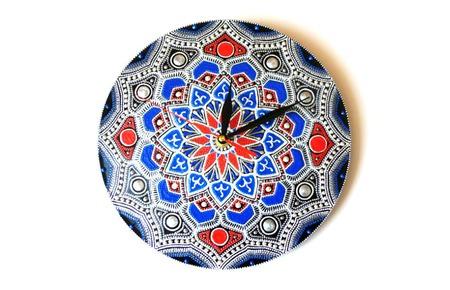 Часы на пластинке Серебро точечная роспись ручной работы на заказ