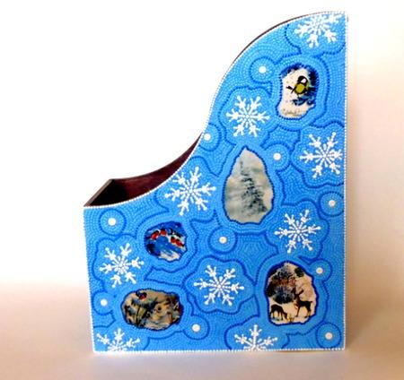 Журнальница Сквозь замерзшее окно точечная роспись... ручной работы на заказ