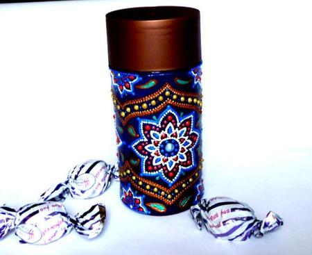 Баночка для кофе точечная роспись ручной работы на заказ