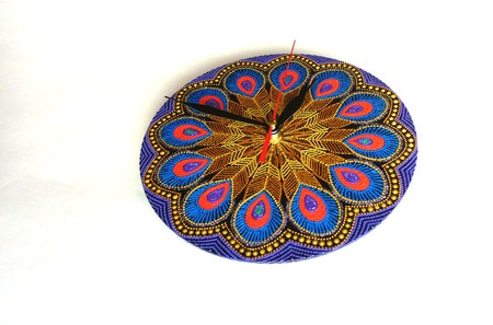 Часы Перо Жар-птицы точечная роспись ручной работы на заказ