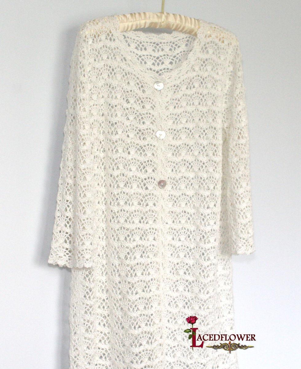 белое летнее вязаное крючком пальто кардиган кружева хлопок вискоза