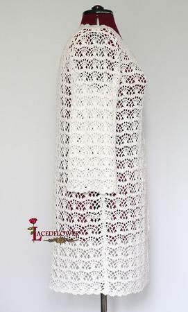 Белое Летнее Вязаное Крючком  Пальто-кардиган Кружева Хлопок Вискоза ручной работы на заказ
