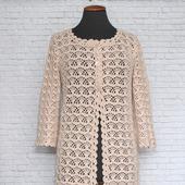 Летнее ажурное пальто Крем-брюле. Ручная работа вязание крючком