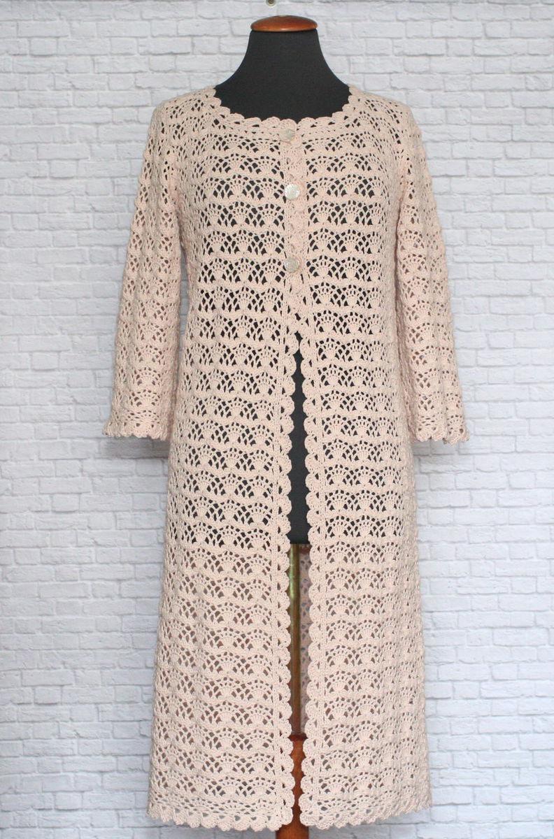 летнее ажурное пальто крем брюле ручная работа вязание крючком