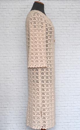 Летнее ажурное пальто Крем-брюле. Ручная работа вязание крючком ручной работы на заказ