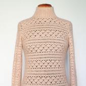 """Теплый вязаный свитер """"Элегия"""" кремовый из альпака, кашемира,шелка..."""