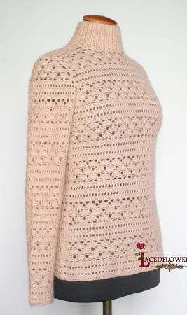 """Теплый вязаный свитер """"Элегия"""" кремовый из альпака, кашемира,шелка... ручной работы на заказ"""