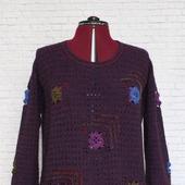 Джемпер вязаный  фиолетовый бохо   Виолетта  Ручная работа.
