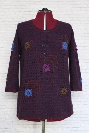 Джемпер вязаный  фиолетовый бохо   Виолетта  Ручная работа. ручной работы на заказ