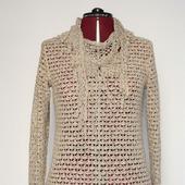 Летнее ажурное платье-рубашка вязаное.Бохо стиль. Рустик.