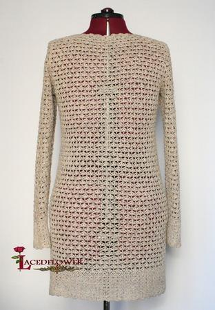 Летнее ажурное платье-рубашка вязаное.Бохо стиль. Рустик. ручной работы на заказ