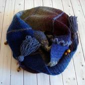 Бактус Синие дАли сиреневый туман.. шейный платок шарф вязаный