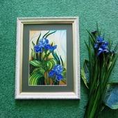 """"""" Голубые Ирисы"""" картина. вышивка бисером."""