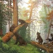 """""""Утро в сосновом бору"""" вышитая картина по  произведению И.И. Шишкина"""