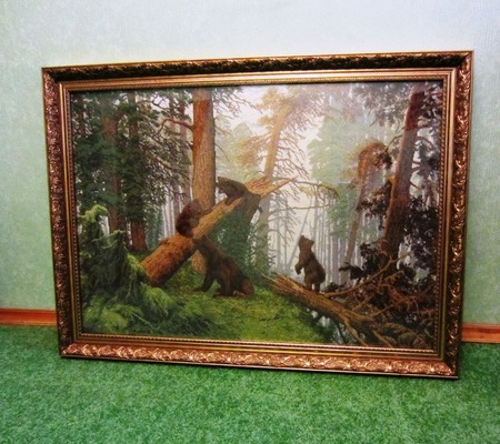 """""""Утро в сосновом бору"""" вышитая картина по  произведению И.И. Шишкина ручной работы на заказ"""