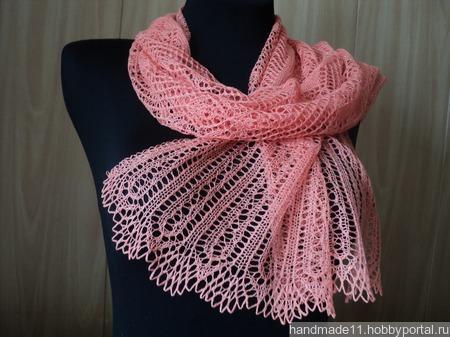 Шарфик кораллового цвета из 100%шелка. ручной работы на заказ