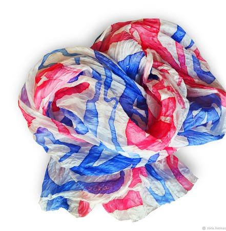 """Шарф шелковый батик.""""Контраст"""".Шелковый шарф. ручной работы на заказ"""