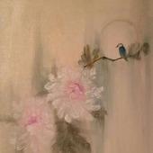 Картина маслом китайская живопись , холст/масло,цветы