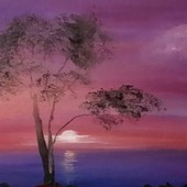 Картина маслом морской пейзаж. Фиолетовый, сиреневый