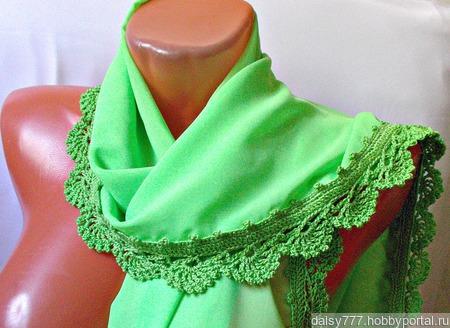 """Зеленый палантин ручной работы из ткани """"Зеленая лужайка"""" модель 1 ручной работы на заказ"""