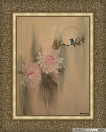 Картина маслом китайская живопись , холст/масло,цветы ручной работы на заказ