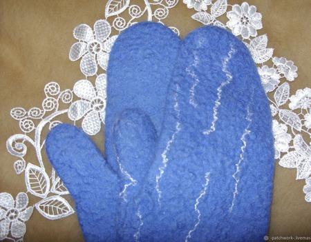"""Валяные варежки """"Голубая волна"""" ручной работы на заказ"""