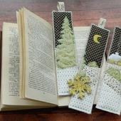 """Набор новогодних лоскутных закладок для книг  """"Волшебница зима"""""""