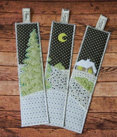 """Набор новогодних лоскутных закладок для книг  """"Волшебница зима"""" ручной работы на заказ"""