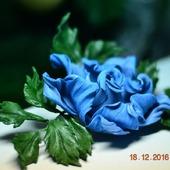 """Брошь из кожи. Роза украшение """"Земфира"""""""