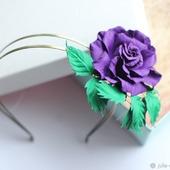 Брошь-Ободок из кожи Фиолетовая жемчужина