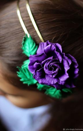 Брошь-Ободок из кожи Фиолетовая жемчужина ручной работы на заказ