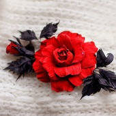 Брошь из натуральной кожи. Роза Ингрид