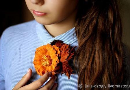 """Брошь из кожи. Роза  """"Осеннее очарование"""" ручной работы на заказ"""