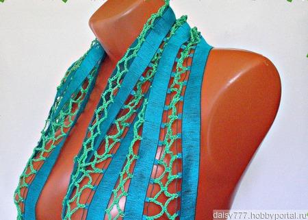 """Бирюзовый вязаный крючком шарф ручной работы """"Бирюзовый"""" модель 2 ручной работы на заказ"""