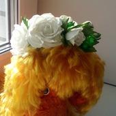 """Эксклюзивный гребень для волос """" Белые розы"""""""