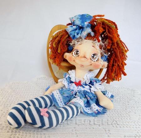 Текстильная кукла Фея Весёлых Хвостиков Кареглазка. Кукла интерьерная. ручной работы на заказ